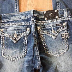 MISS ME BUCKLE Denim Blue BLING Jeans Easy Bootcut